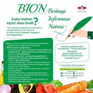 """Banner Lomba Blog """"Berbagi Informasi Nutrisi (BION)"""" yang diselenggarakan oleh Cap Panah Merah"""
