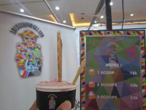 Icip-Icip Arlecchino Gelato Rasa Strawberry di di Jogja Halal Food EXPO 2019 (Dokumentasi Pribadi)