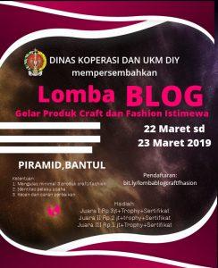 "Banner Lomba Blog ""Gelar Produk Craft dan Fashion Istimewa"" yang Diselenggarakan Oleh Dinas Koperasi UKM DI Yogyakarta"