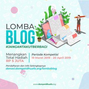 Banner Lomba Blog Jangan Takut Berbagi yang Diselenggarakan oleh Dompet Dhuafa